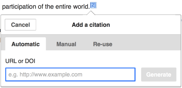 The citation popup in visual editor