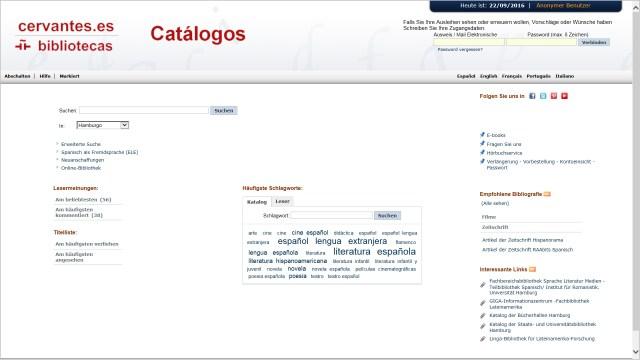Opac AbsysNet en alemán (Instituto Cervantes)