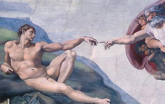 Dios toca a Adán el dedo de Dios Capilla Sixtina