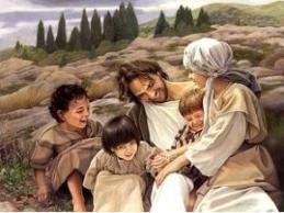 Jesús jugando con los niños