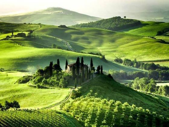 Campiña italiana en verde