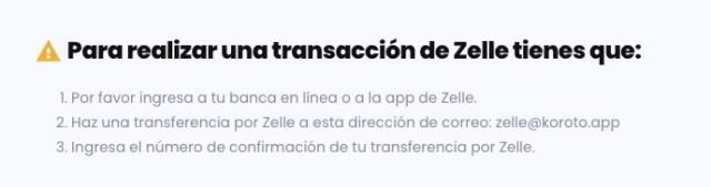 Instrucciones para pagos en Zelle a ser recibidos en Koroto