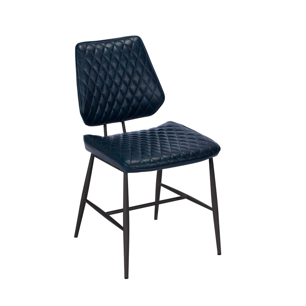 Dalton Blue leather upholstered dining chair