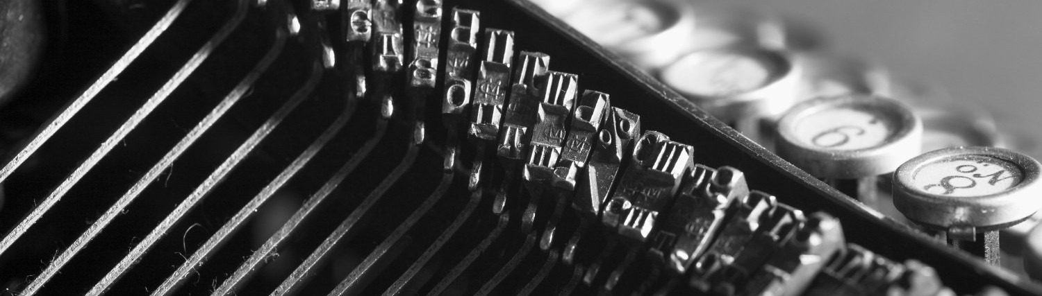 keys and letter of old typewriter close-up