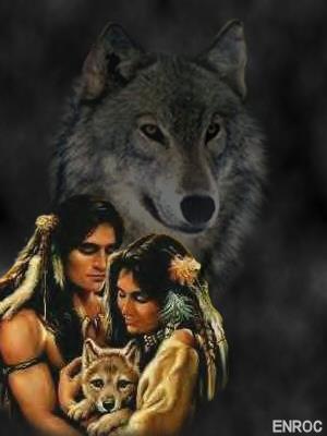 Indianen en wolf