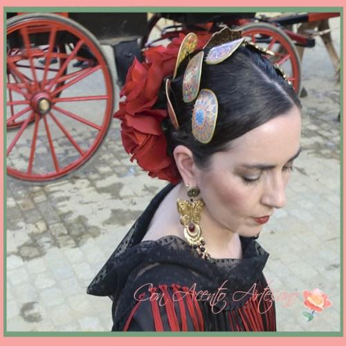 Pendientes de Nieves Pérez San Gregorio para traje de flamenca de Viviana Iorio