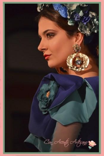 Detalle de las mangas de volantes de uno de los trajes de flamenca en verde de la nueva colección de Amalia Vergara presentada en Emprende Lunares 2018