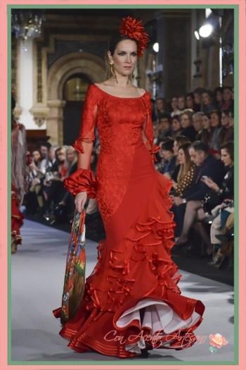 Traje de flamenca rojo de Ángeles Verano en We Love Flamenco 2018