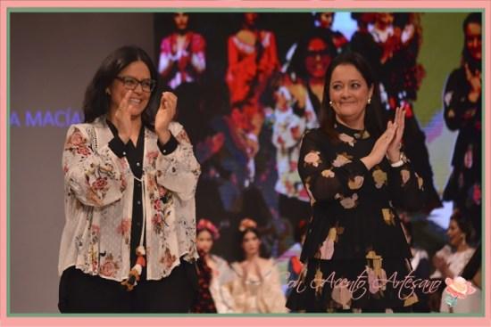 María y Marta, hijas de Manuela Macías tras el carrusel de su Colección 2018 en Pasarela Doñana D'Flamenca 2018