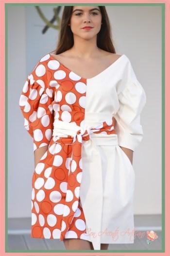 Vestido blanco y naranja de lunares de Chloe Malla