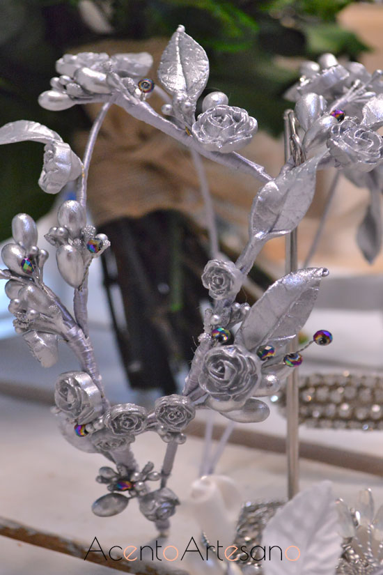 Diadema doble para novias de Ópalo Negro