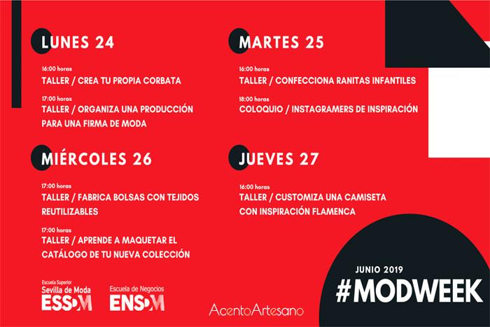 Programa de talleres de moda y coloquio de la primera edición de la  MODWEEK