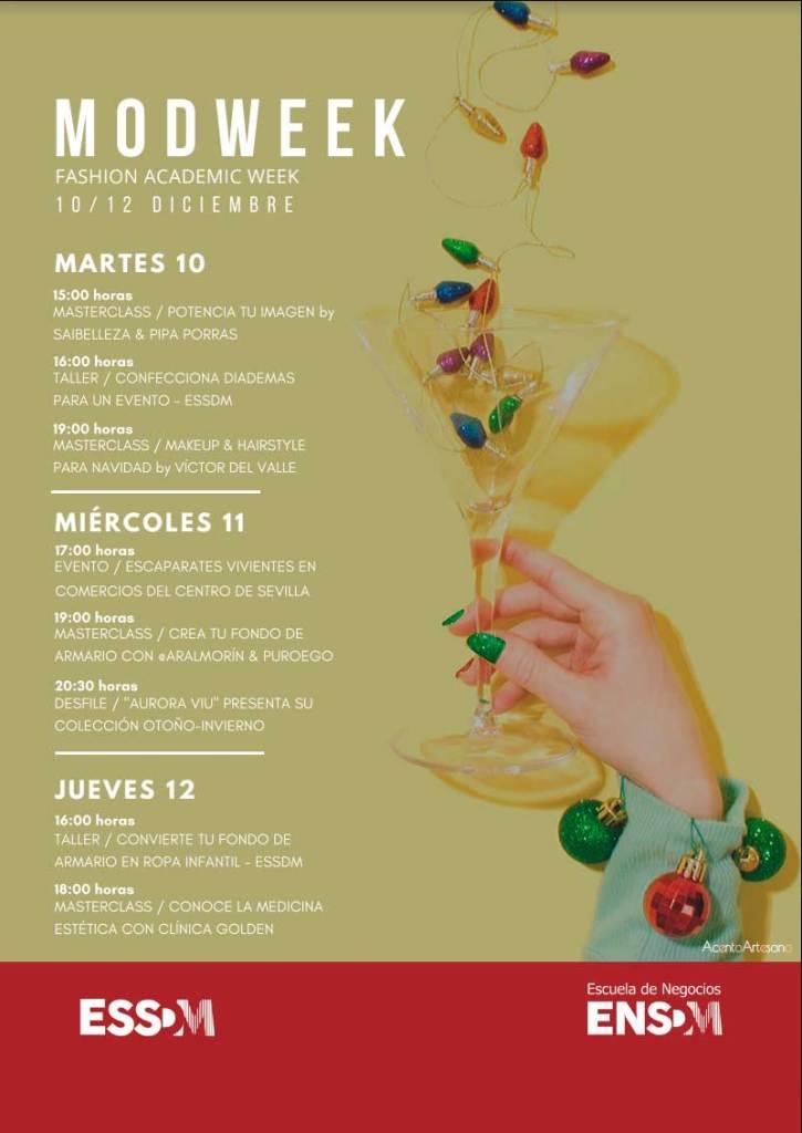 Programa de actividades de moda, talleres y masterclass de la II Modweek - Fashion Academic Week de la Escuela Sevilla de Moda