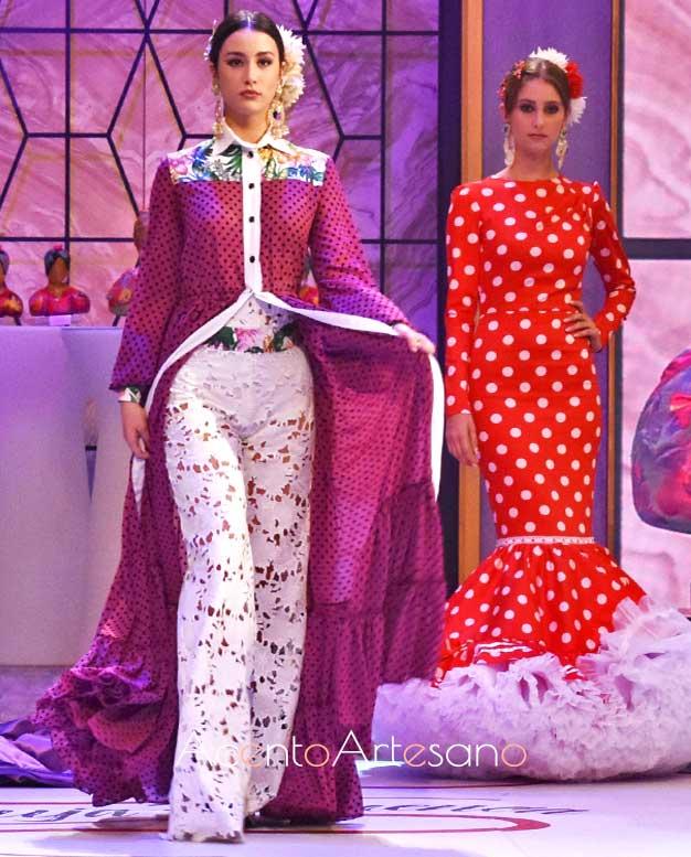 Vestido camisero canastero y pantalón en guipur de Victoria, finalista de Aguja Flamenca