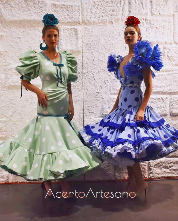 Trajes de flamenca estilo Marisol de los dos equipos participantes en el programa Aguja Flamenca