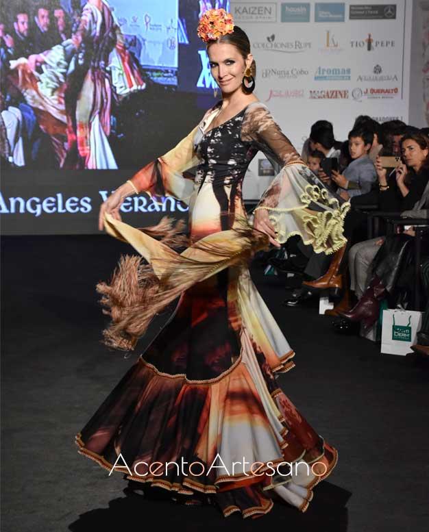 Traje de flamenca paisajístico de Ángeles Verano