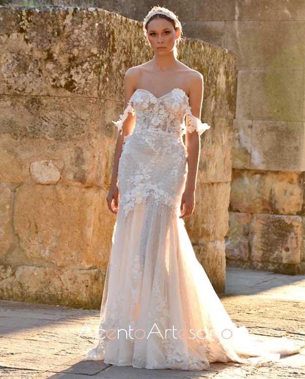 Vestido de novia de silueta sirena y escote coración de Higar Novias en Code 41 Trending