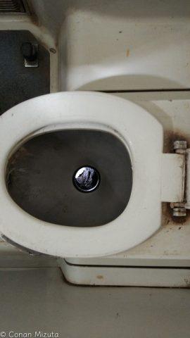 ちなみにトイレは線路に直通