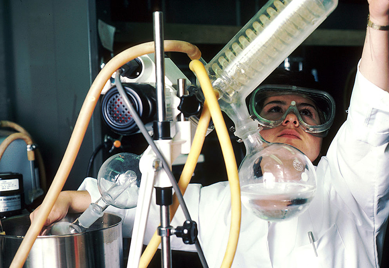 scientist using a rotary evaporator