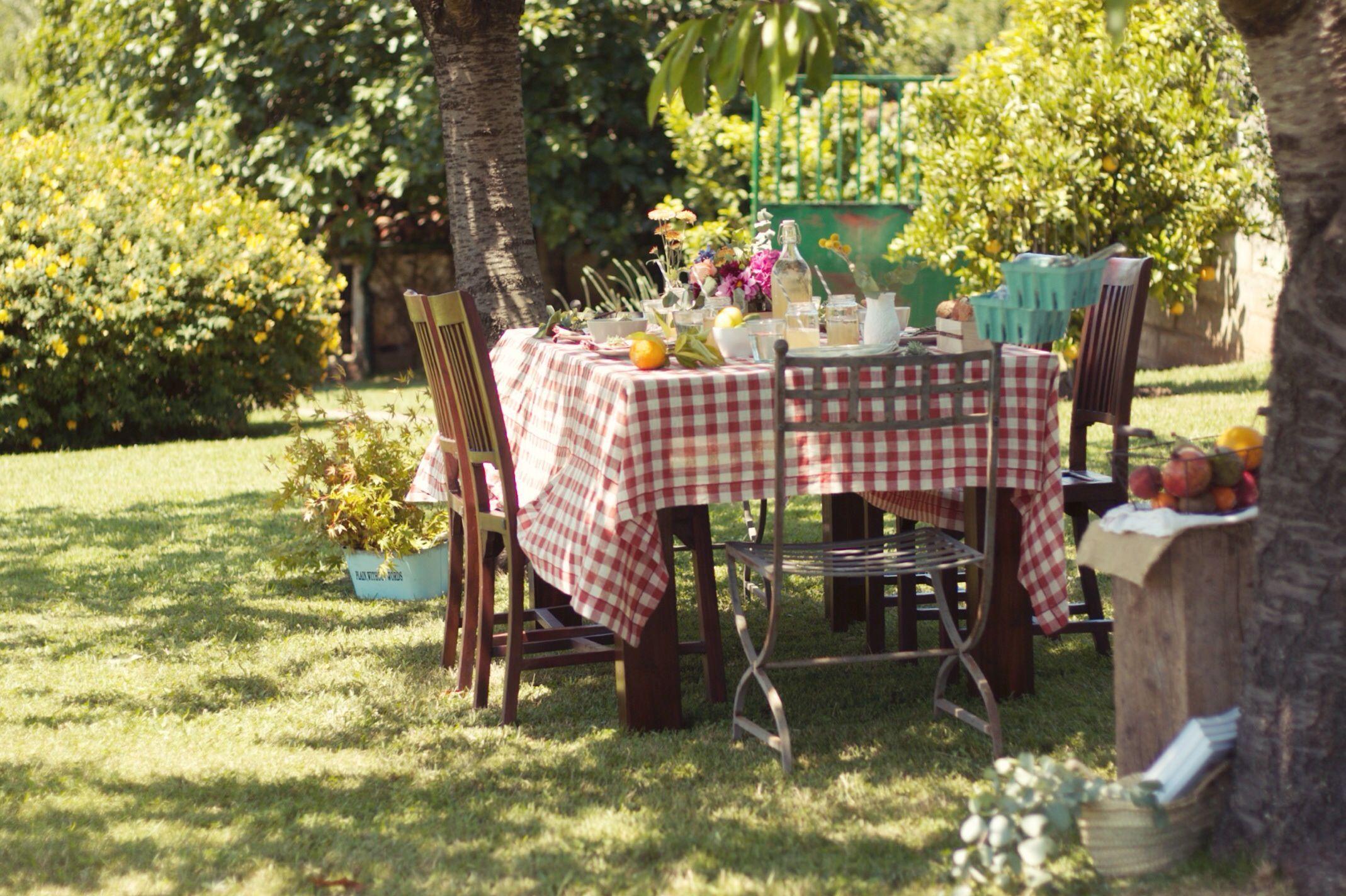 A mesa puesta  Una comida al aire libre  Con botas de agua