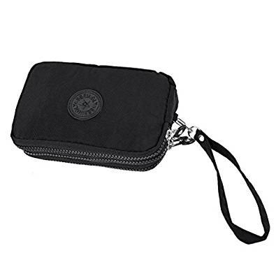 TOOGOO® - Bolso pequeño para mujer con tres cremalleras para maquillaje portátil, color negro 1
