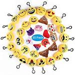 Ventdest Mini Emoji Llavero, 35 PCS Emoticon Llavero Emoji Encantadora Almohada para la decoración de Bolsos Mochilas y Llaves Regalitos para niños