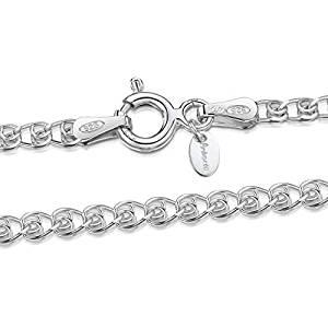 Amberta® Joyería - Collar - Fina Plata De Ley 925 - Cadena de Corazón 1
