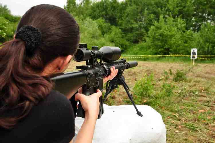Women prepper shooting ar-15