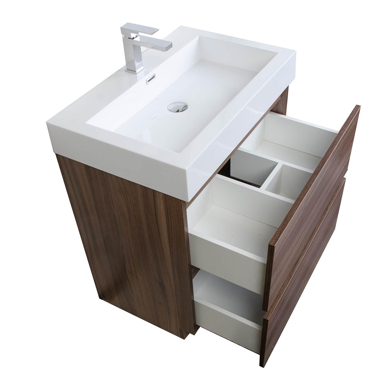 295 Contemporary Bathroom Vanity Set in Walnut Optional