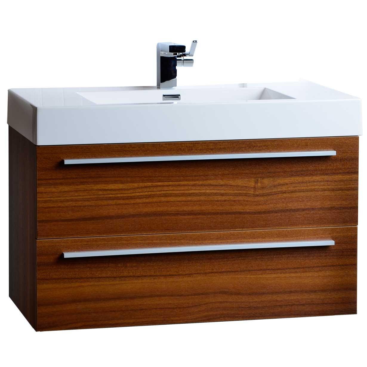 355 WallMount Contemporary Bathroom Vanity Teak TNM900TK  Conceptbathscom