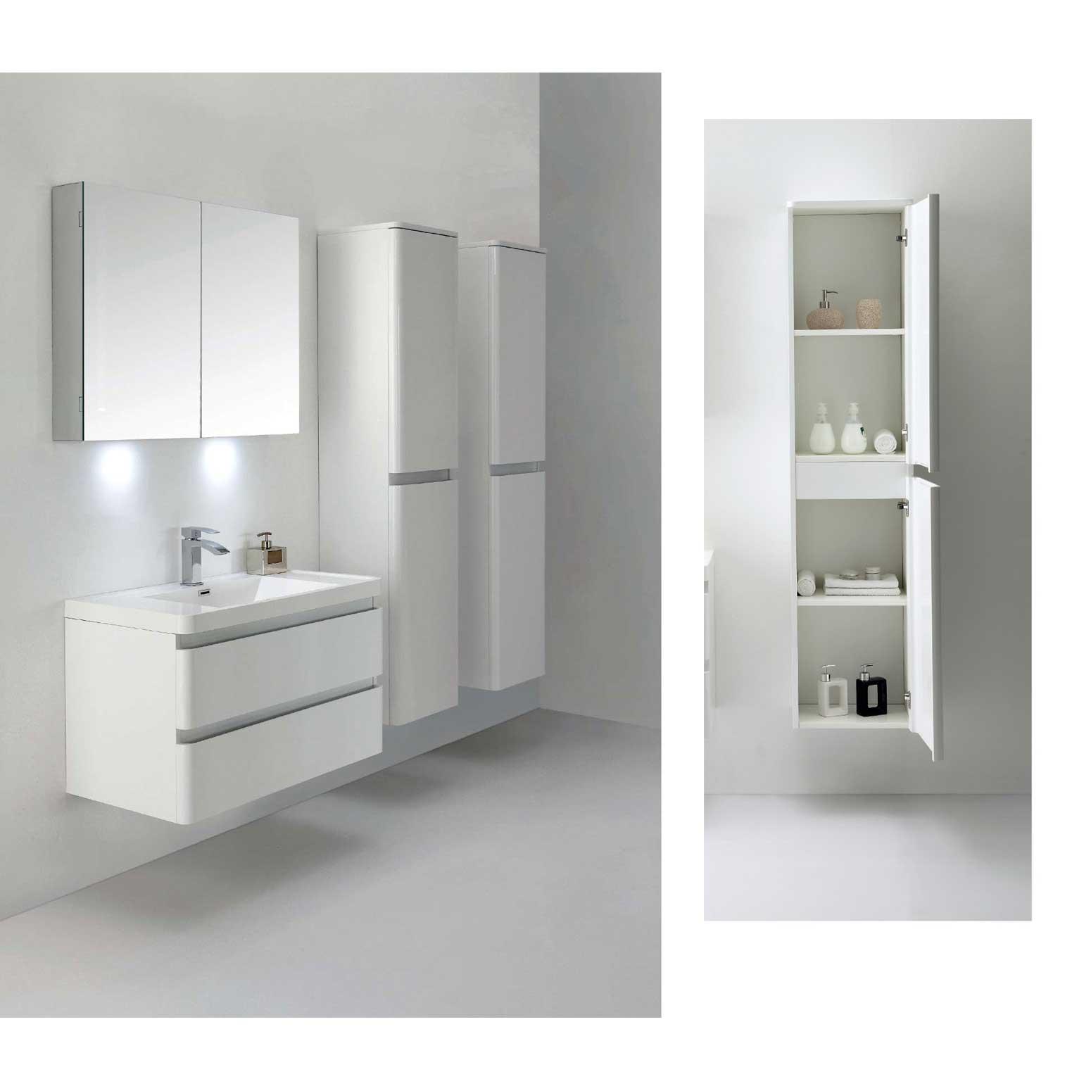 Amaral 355 WallMount Bathroom Vanity High Glossy White