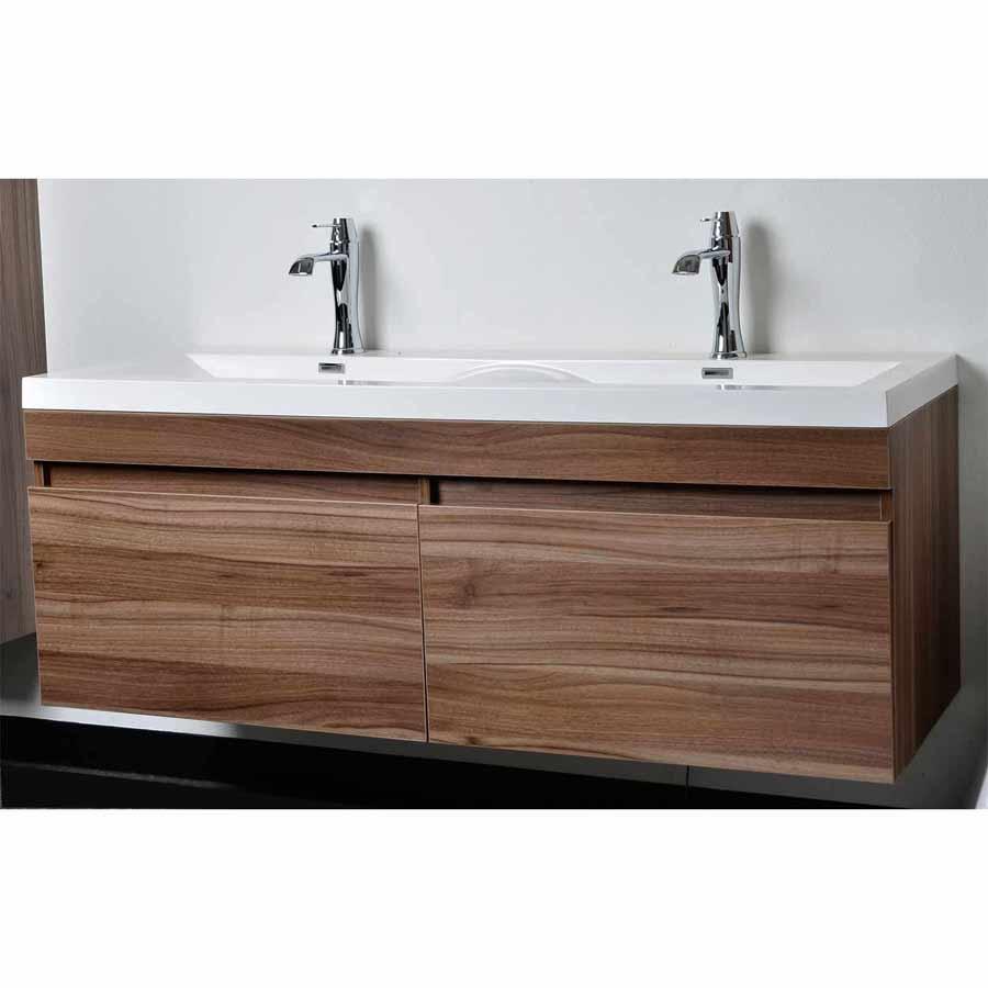 Modern Bathroom Vanity Set with Wavy Sinks in Walnut TN ...