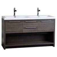 "57"" Contemporary Double Vanity Set with Wavy Sink Grey Oak ..."