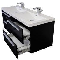 57 Inch Modern Double Sink Vanity Set with Wavy Sinks ...