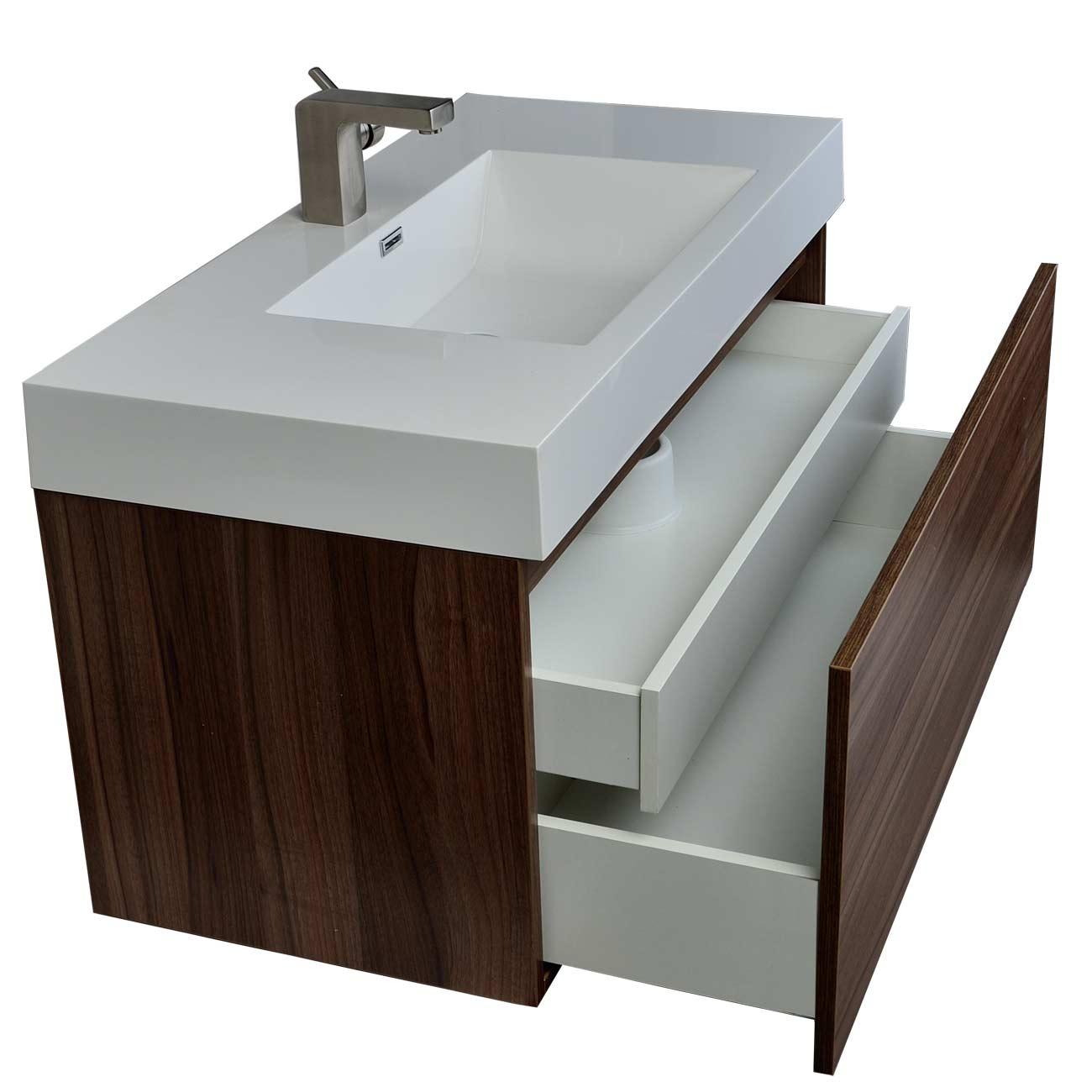 Modern Bathroom Vanity in Walnut Finish TNA1000WN