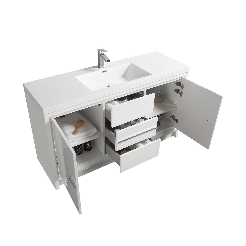 cbi enna 59 inch single modern bathroom vanity in high gloss white tn la1500s hgw