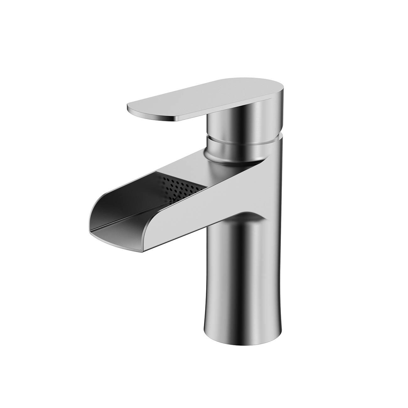 buy cbi teton single handle bathroom waterfall faucet brushed nickel lh bf52 bn on conceptbaths com