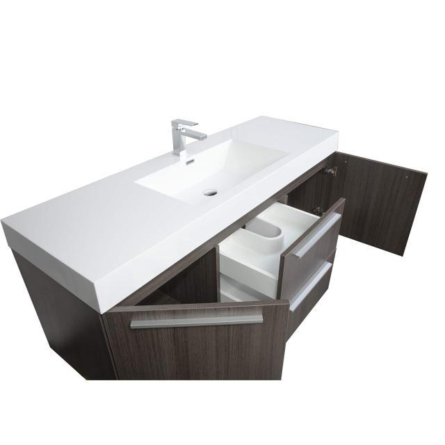 Buy 59 Inch Wall Mount Contemporary Bathroom Vanity in Grey Oak TN