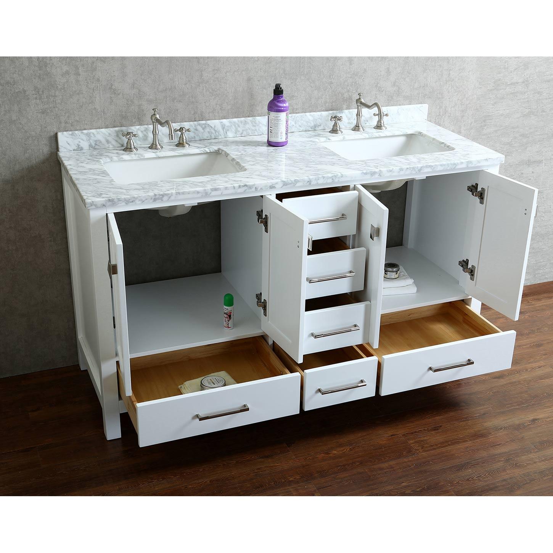 Buy Vincent 60 Solid Wood Double Bathroom Vanity in White HM1300160WMSQWT  Conceptbathscom