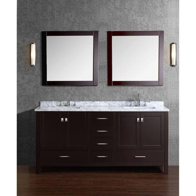 Buy Vincent 72 Inch Solid Wood Double Bathroom Vanity in Espresso