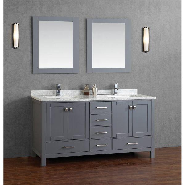 gray double sink bathroom vanity Buy Vincent 72 Inch Solid Wood Double Bathroom Vanity in