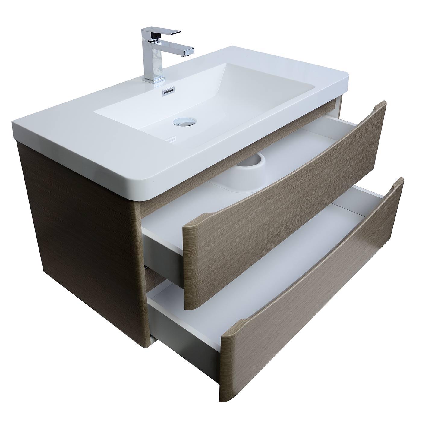 Merida 355 Inch WallMount Bathroom Vanity in Light Pine
