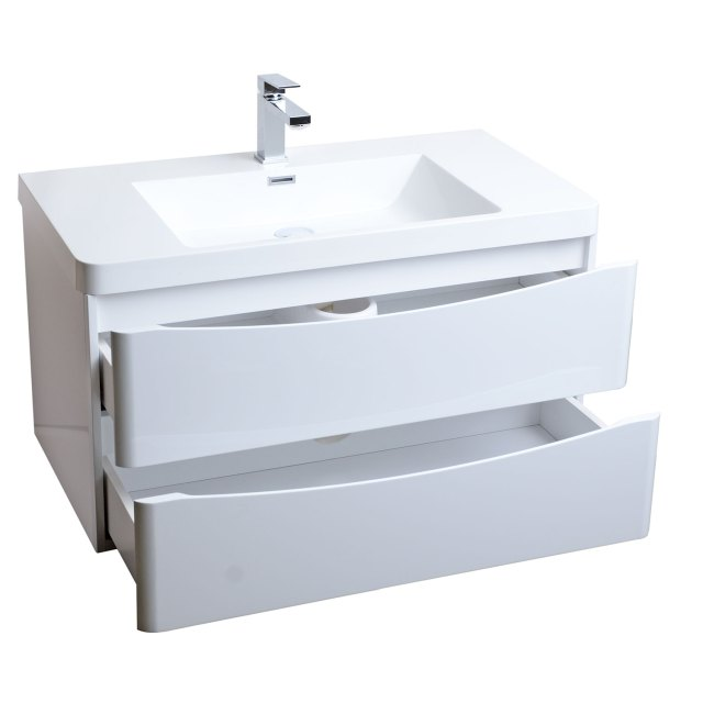 Buy Merida 35 5 inch Wall Mount Bathroom Vanity in Gloss White TN
