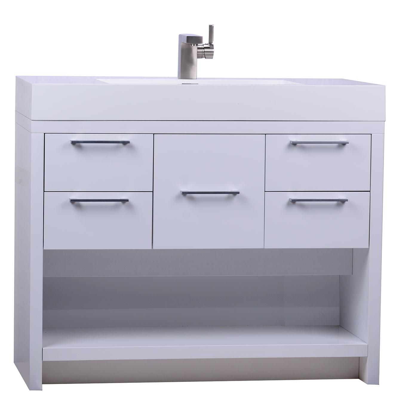 LODI 40 Inch Modern Bathroom Vanity High Gloss Whtie