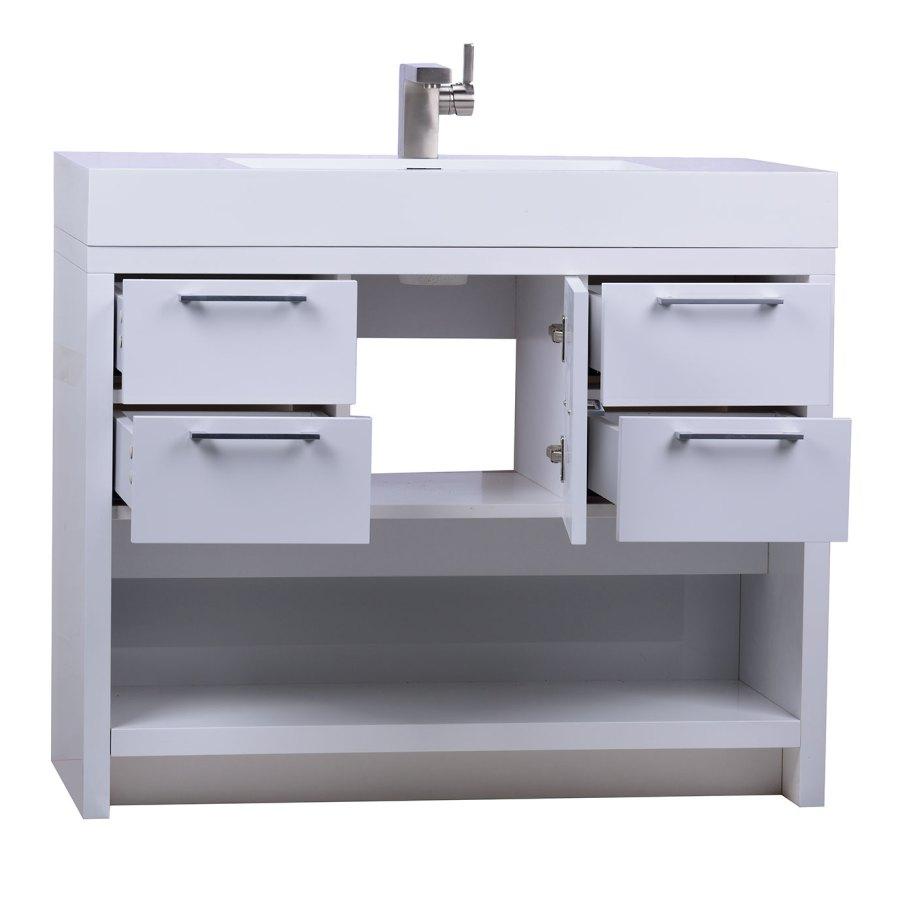 LODI 40 Inch Modern Bathroom Vanity High Gloss Whtie ...