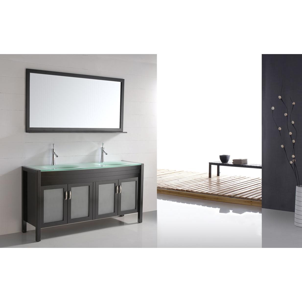 60 Solid Wood Double Sink Bathroom Vanity Glass Top Free Shipping Espresso Cb6011 Conceptbaths Com