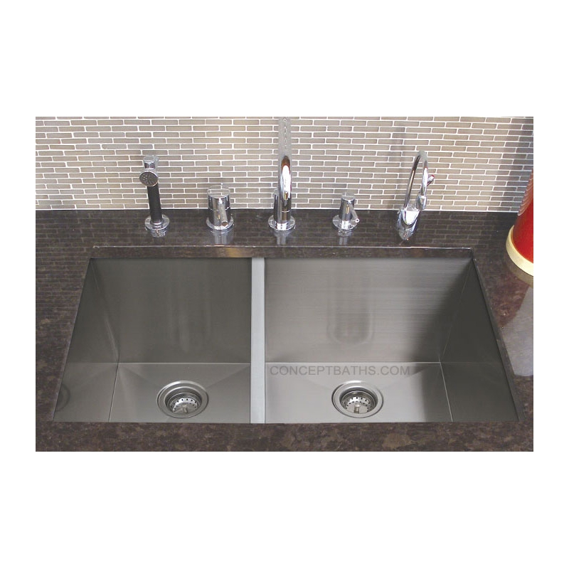 33 stainless steel 30 70 double well undermount sink sn hbo3320ar