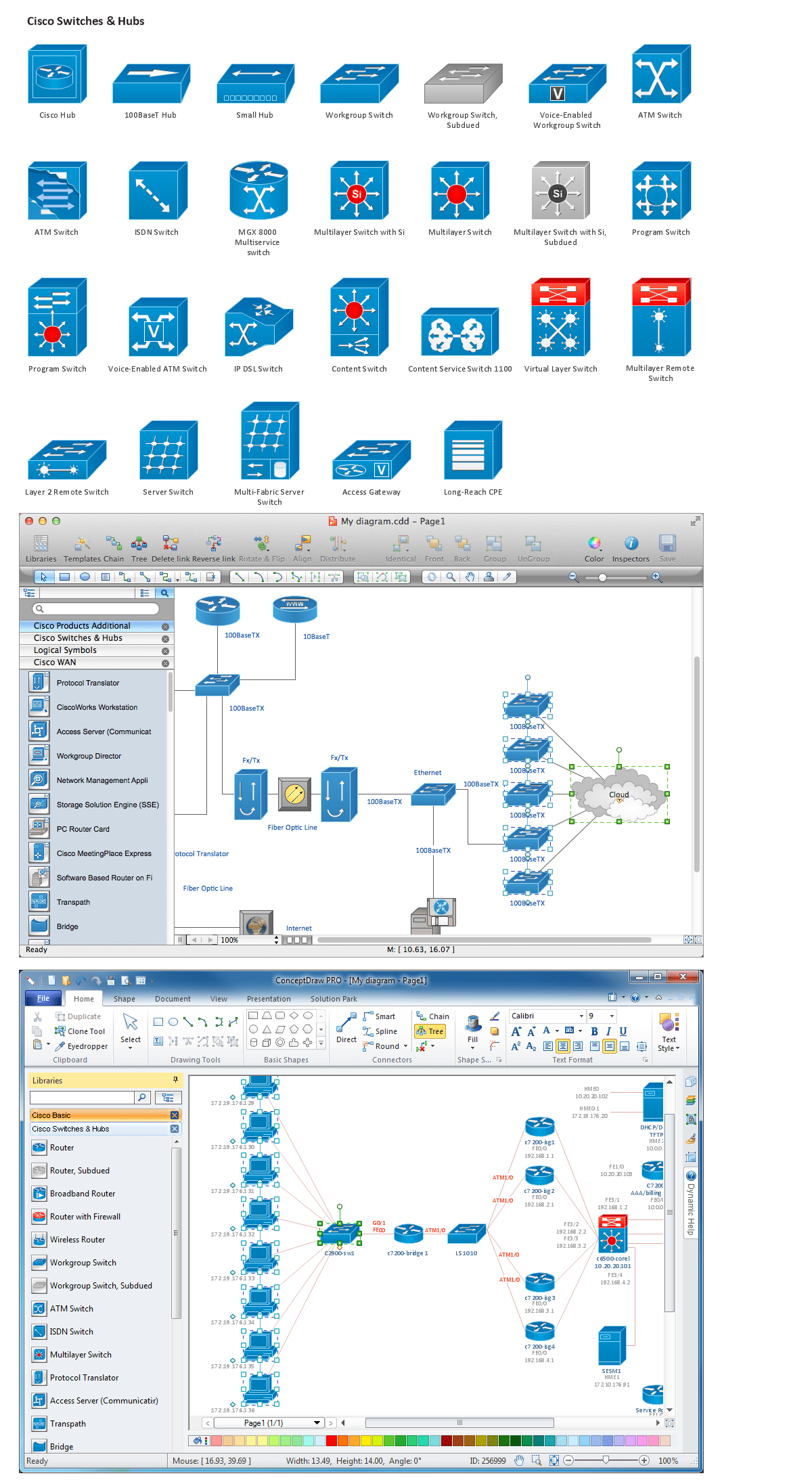 hight resolution of network diagramming software design elements cisco win mac