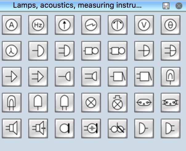 Vector Wiring Diagram Electrical Symbols Lamps Acoustics Readouts