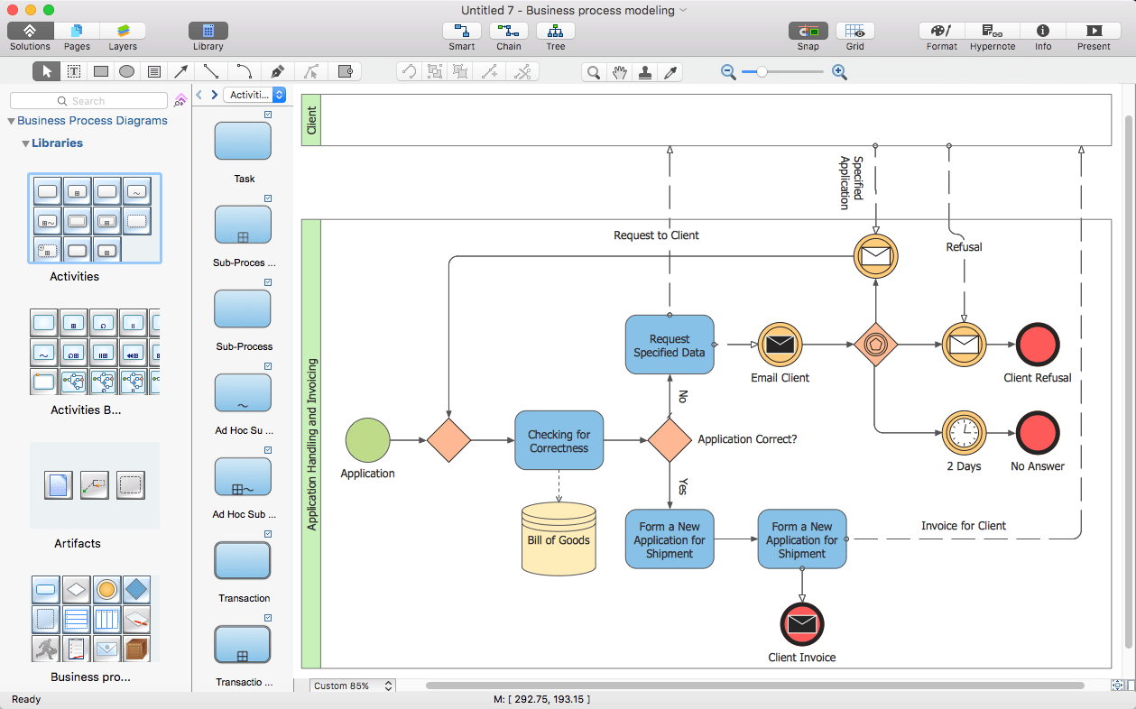 sample visio process flow diagram radio wiring for 2004 chevy silverado creating business conceptdraw helpdesk